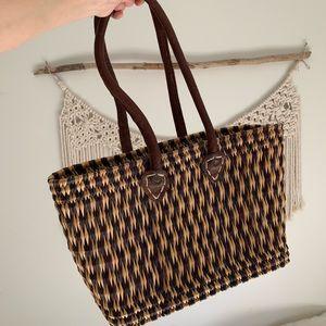 Vintage Wicker Weaved Hand Bag